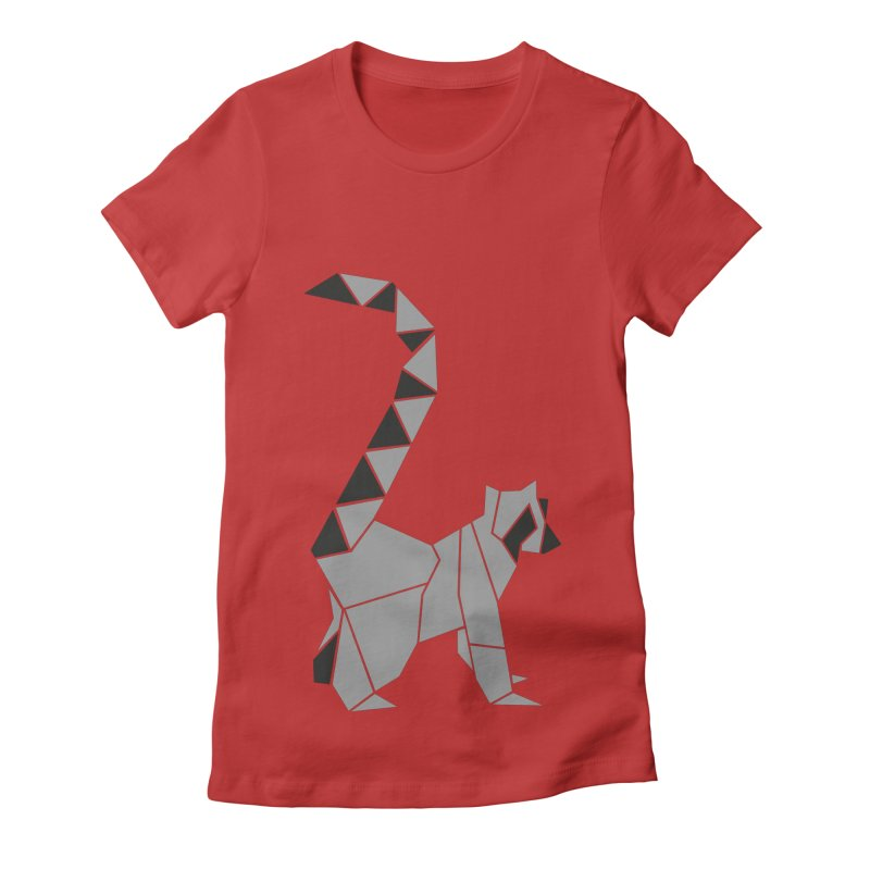 Lemur origami Women's Fitted T-Shirt by Synner Design