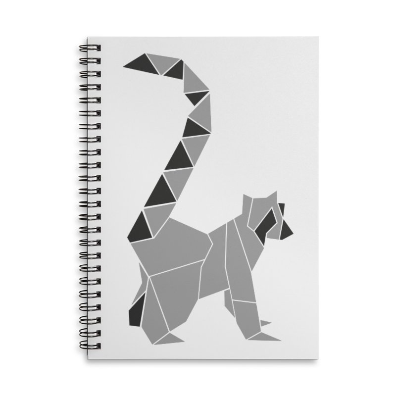Lemur origami Accessories Lined Spiral Notebook by Synner Design