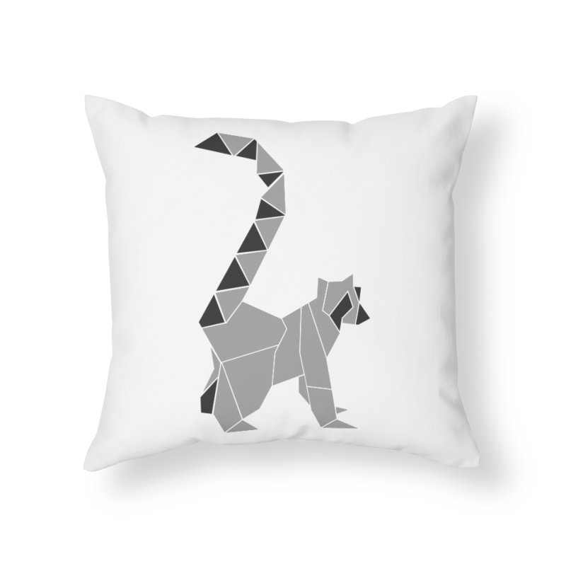 Lemur origami Home Throw Pillow by Synner Design