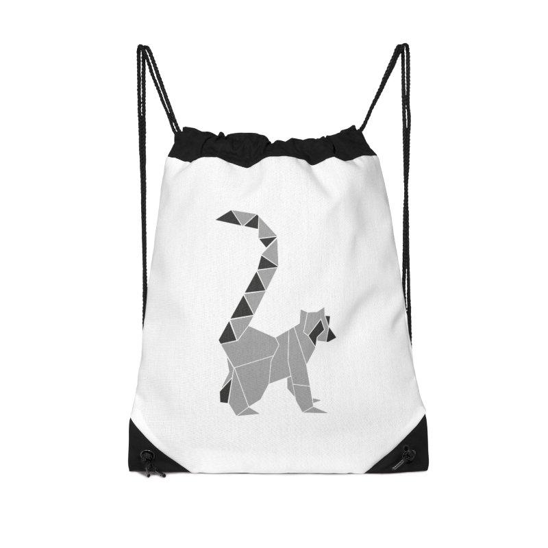 Lemur origami Accessories Drawstring Bag Bag by Synner Design