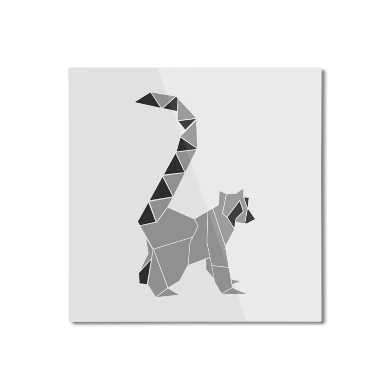 Lemur origami Home Mounted Aluminum Print by Synner Design
