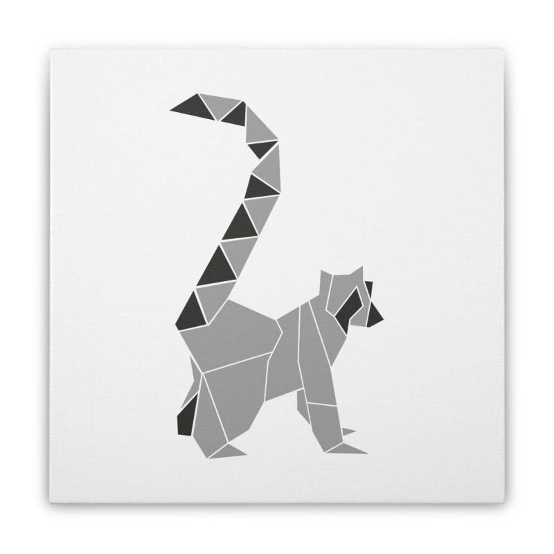 Lemur origami Home Stretched Canvas by Synner Design
