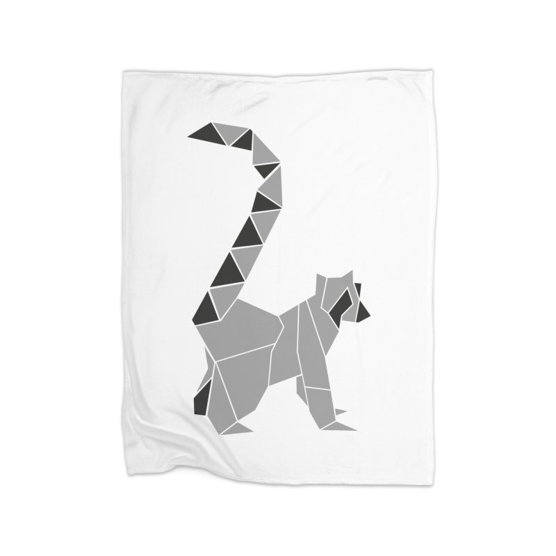 Lemur origami Home Fleece Blanket Blanket by Synner Design