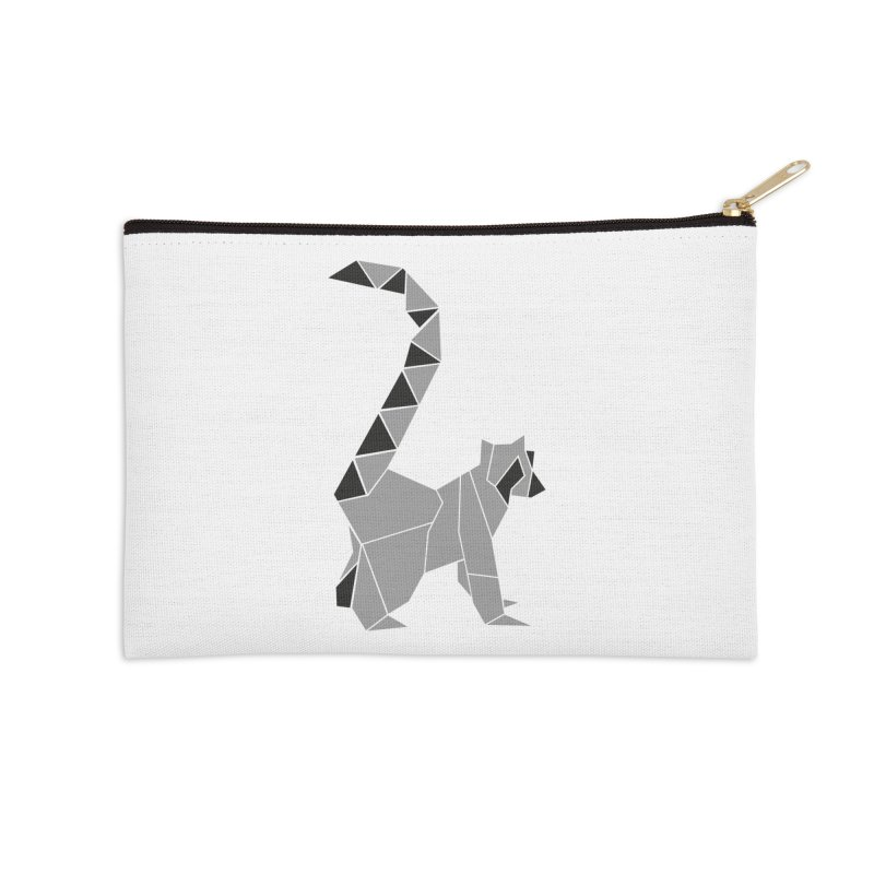 Lemur origami Accessories Zip Pouch by Synner Design