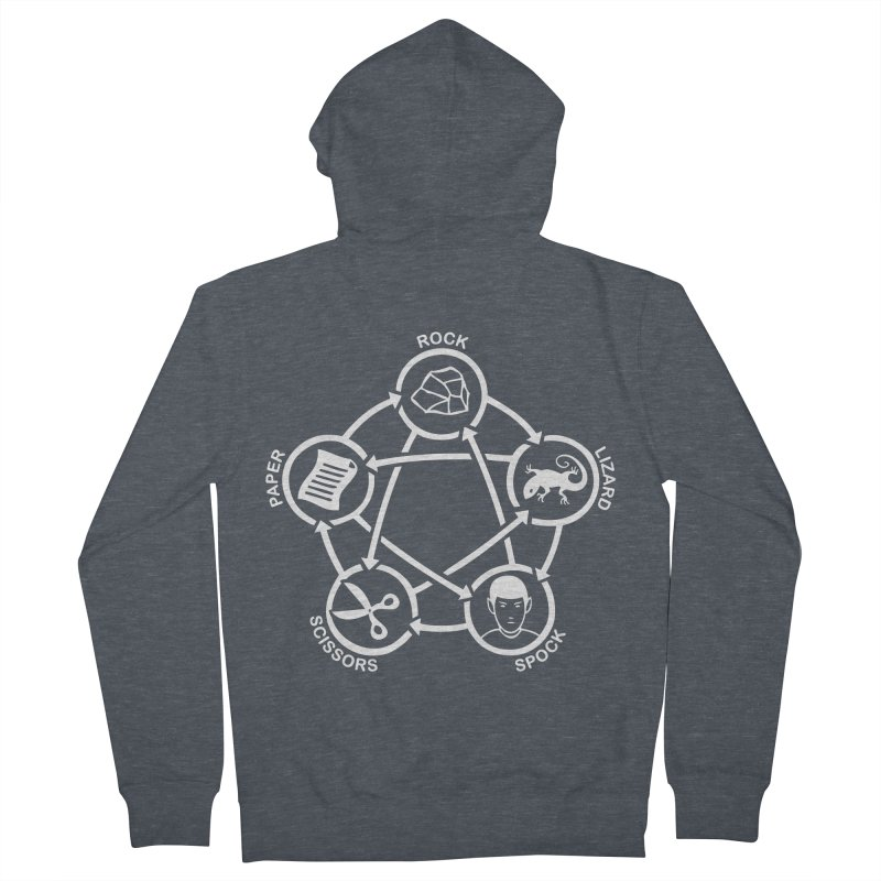 Rock Paper Scissors Lizard Spock Men's French Terry Zip-Up Hoody by Synner Design