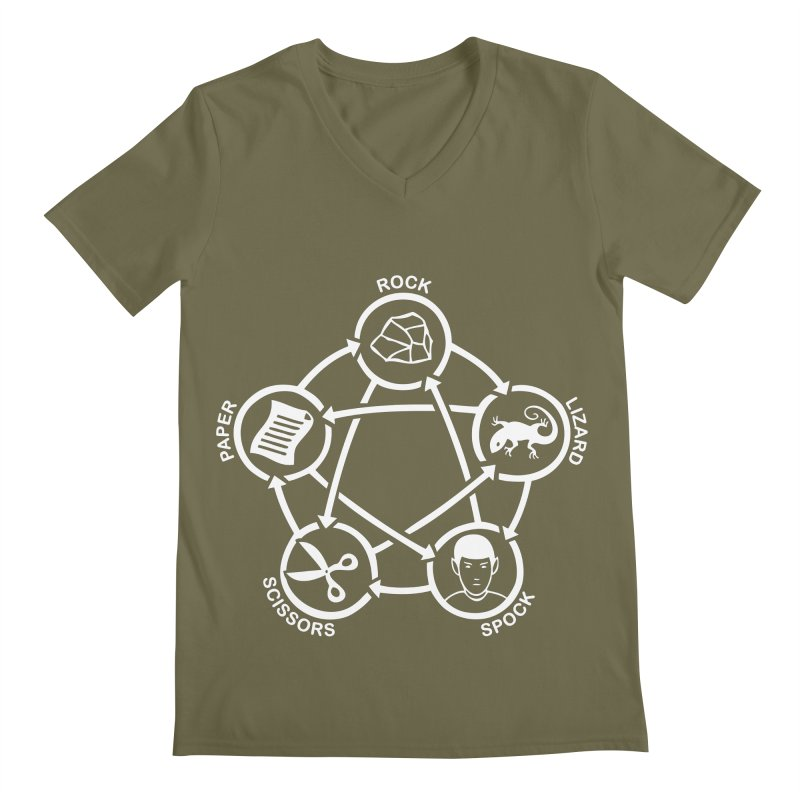 Rock Paper Scissors Lizard Spock Men's Regular V-Neck by Synner Design