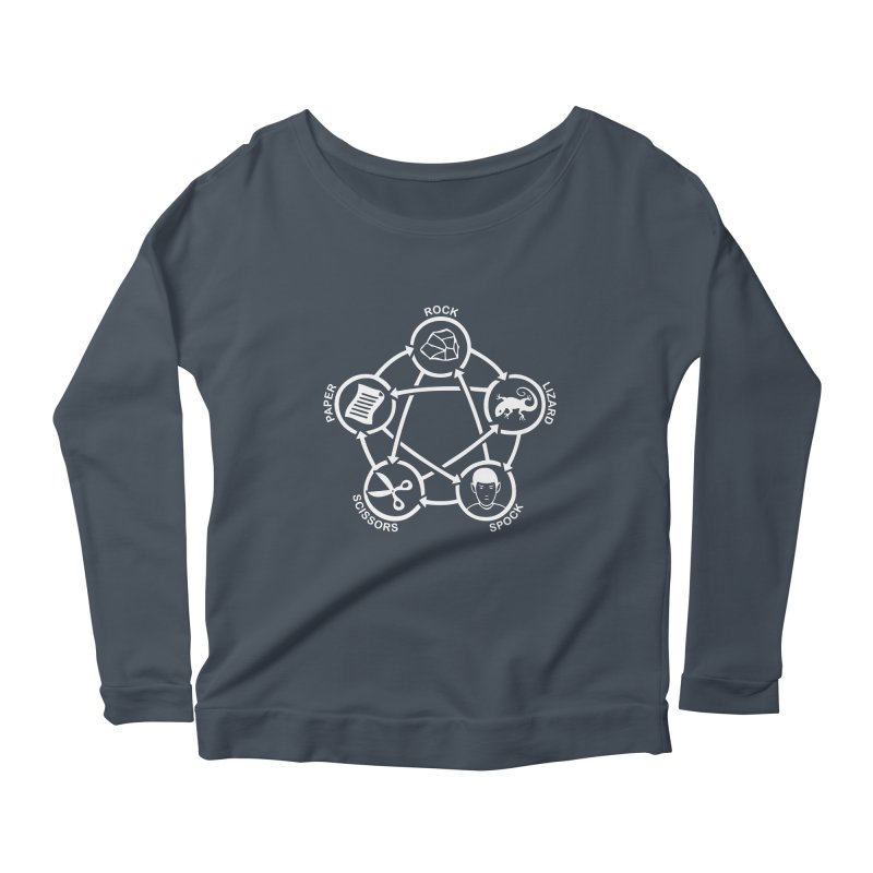 Rock Paper Scissors Lizard Spock Women's Scoop Neck Longsleeve T-Shirt by Synner Design