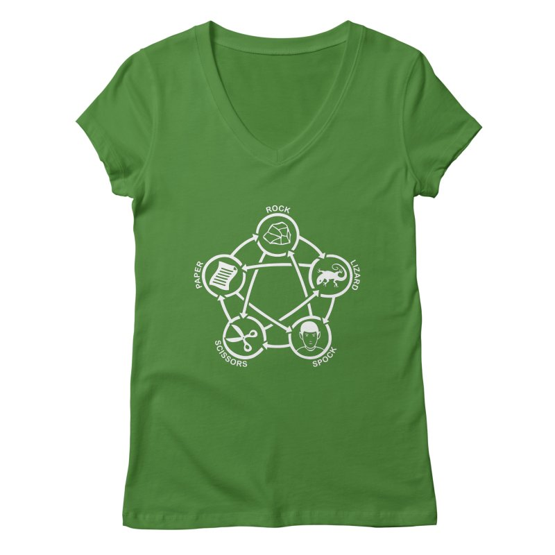 Rock Paper Scissors Lizard Spock Women's Regular V-Neck by Synner Design