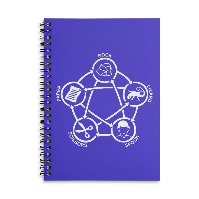 Rock Paper Scissors Lizard Spock Accessories Lined Spiral Notebook by Synner Design