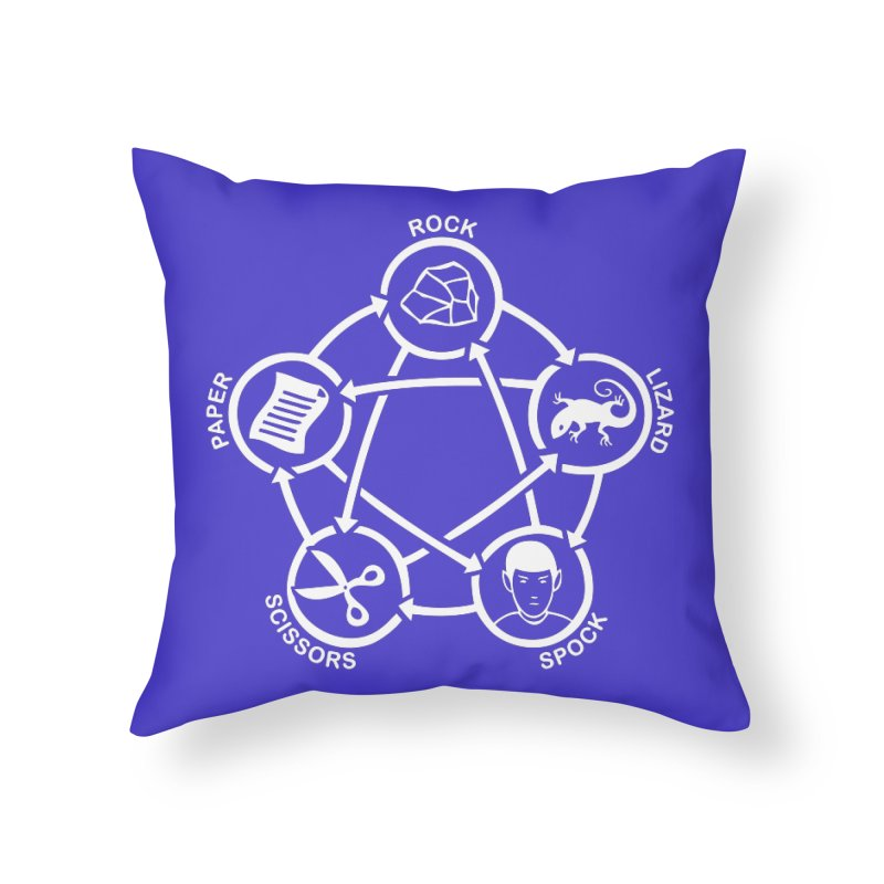 Rock Paper Scissors Lizard Spock Home Throw Pillow by Synner Design