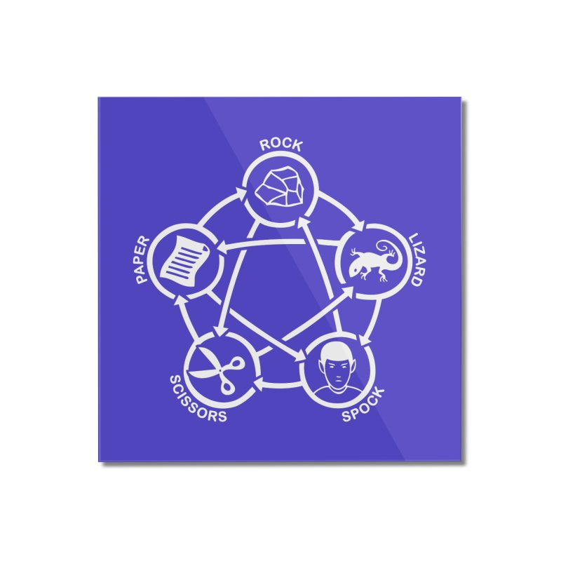 Rock Paper Scissors Lizard Spock Home Mounted Acrylic Print by Synner Design