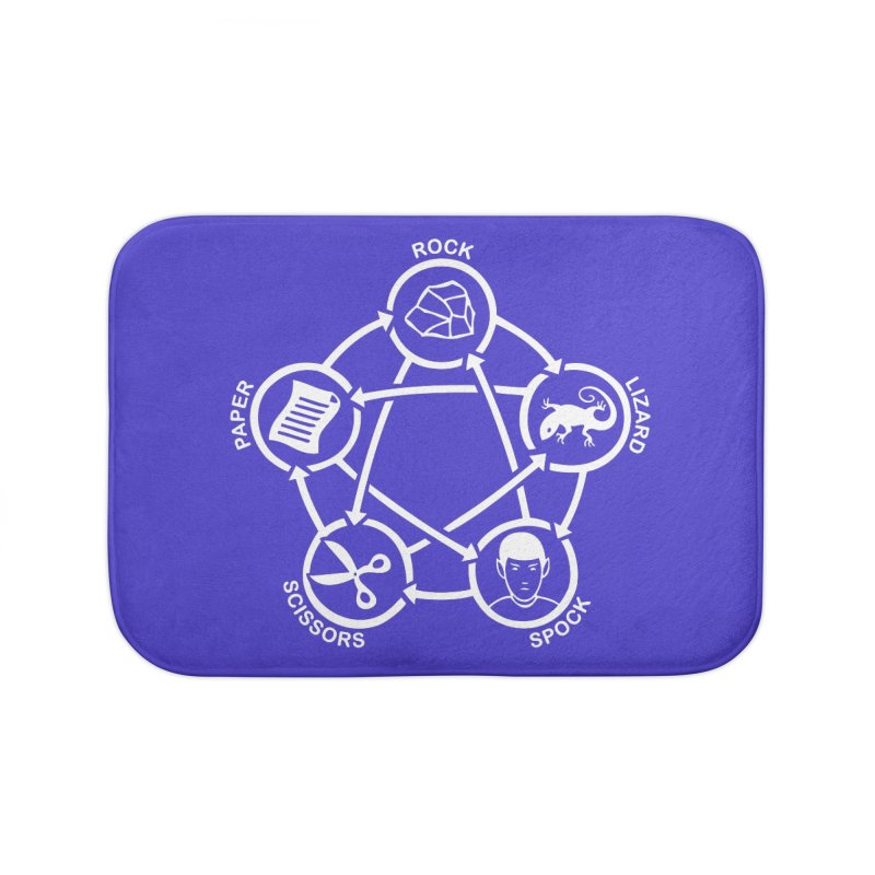 Rock Paper Scissors Lizard Spock Home Bath Mat by Synner Design