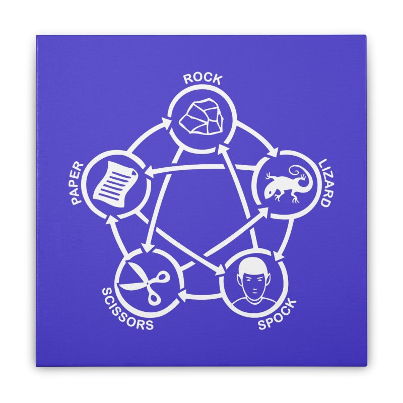 Rock Paper Scissors Lizard Spock Home Stretched Canvas by Synner Design