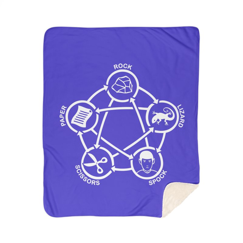 Rock Paper Scissors Lizard Spock Home Sherpa Blanket Blanket by Synner Design