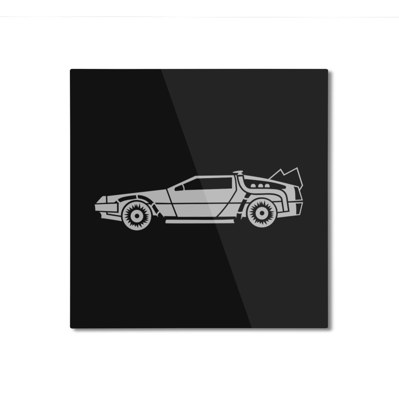 Delorean Home Mounted Aluminum Print by Synner Design