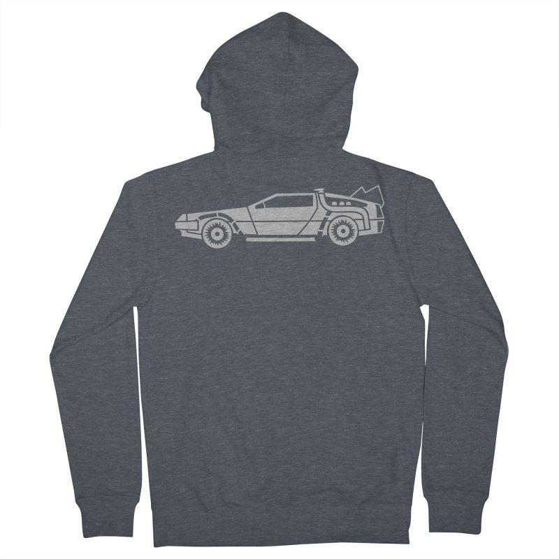 Delorean Men's French Terry Zip-Up Hoody by Synner Design