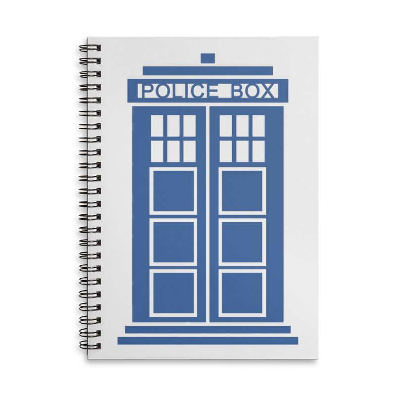 Tardis flies Accessories Lined Spiral Notebook by Synner Design