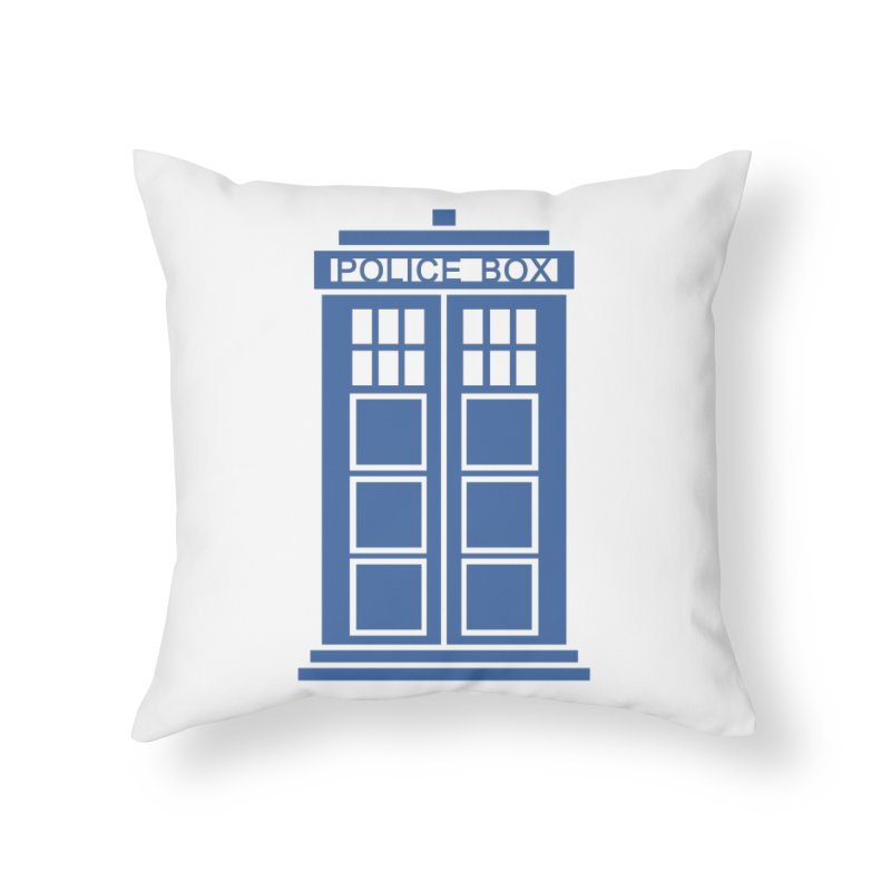Tardis flies Home Throw Pillow by Synner Design