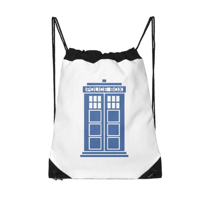 Tardis flies Accessories Drawstring Bag Bag by Synner Design
