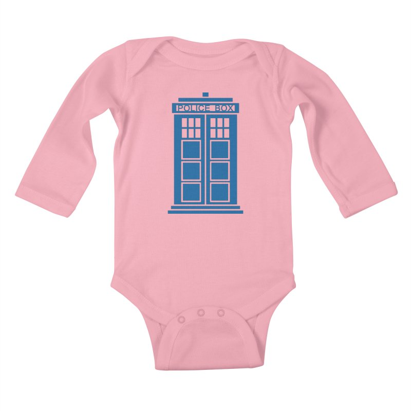 Tardis flies Kids Baby Longsleeve Bodysuit by Synner Design