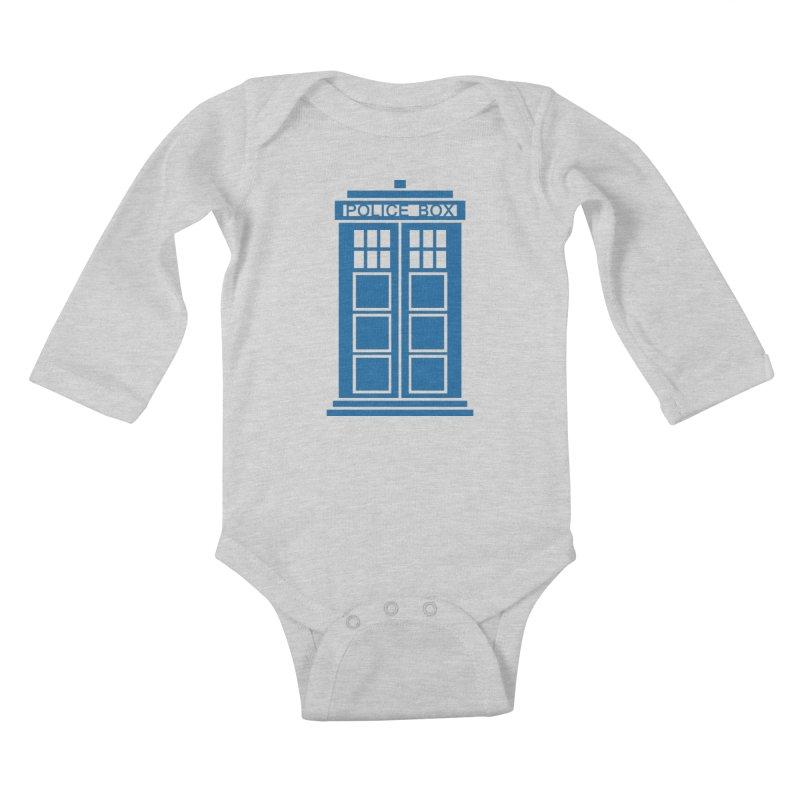 Tardis flies Kids Baby Longsleeve Bodysuit by Synner Design