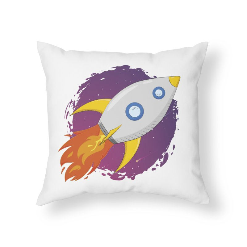 Space Rocket Home Throw Pillow by Synner Design