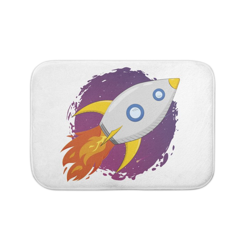 Space Rocket Home Bath Mat by Synner Design