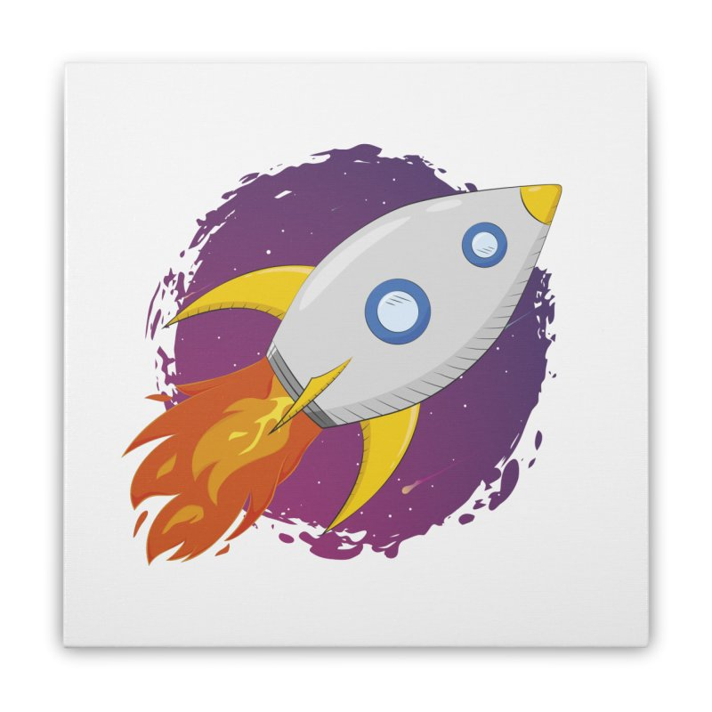 Space Rocket Home Stretched Canvas by Synner Design