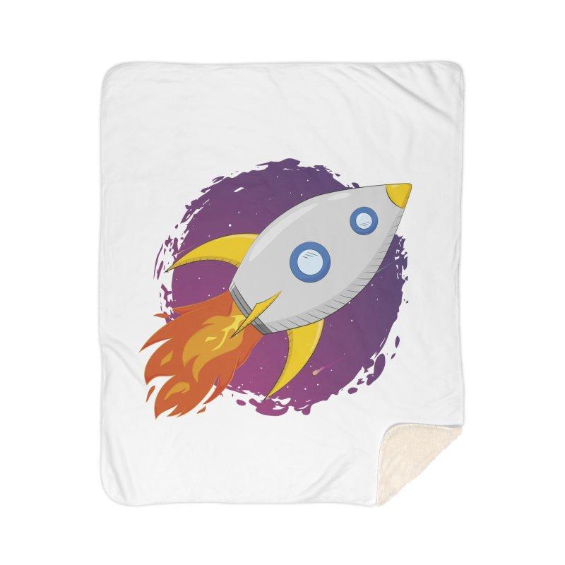 Space Rocket Home Sherpa Blanket Blanket by Synner Design