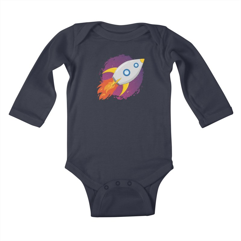 Space Rocket Kids Baby Longsleeve Bodysuit by Synner Design