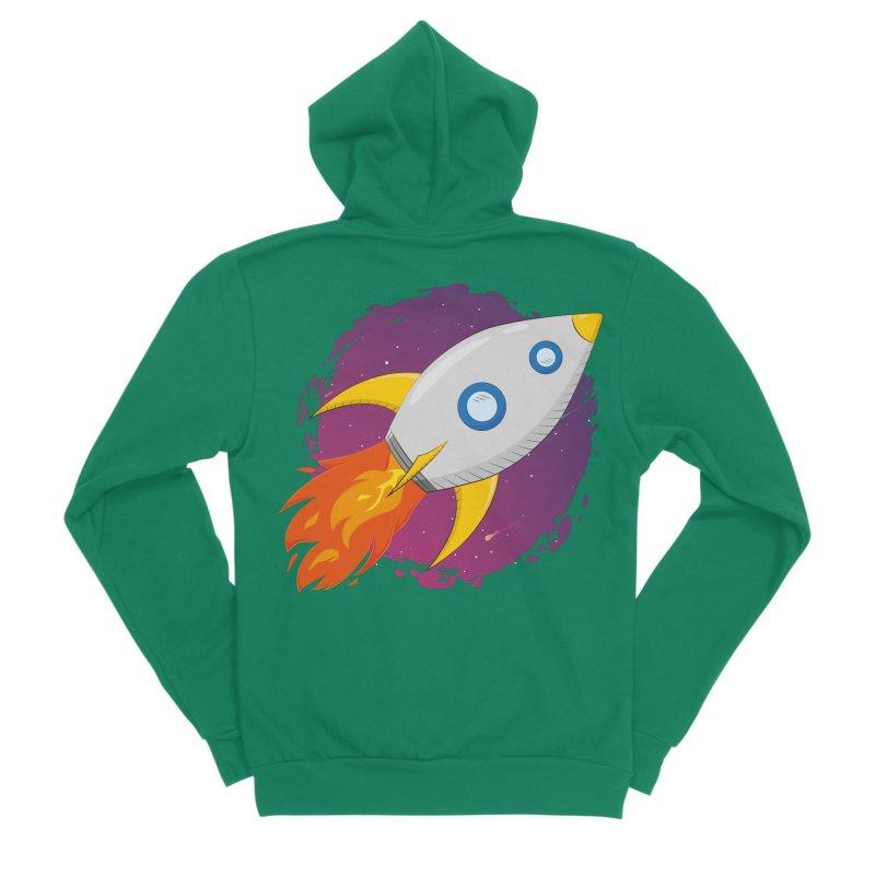 Space Rocket Women's Sponge Fleece Zip-Up Hoody by Synner Design