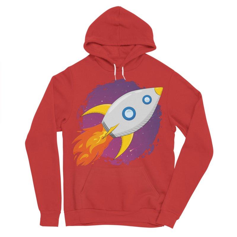 Space Rocket Men's Sponge Fleece Pullover Hoody by Synner Design