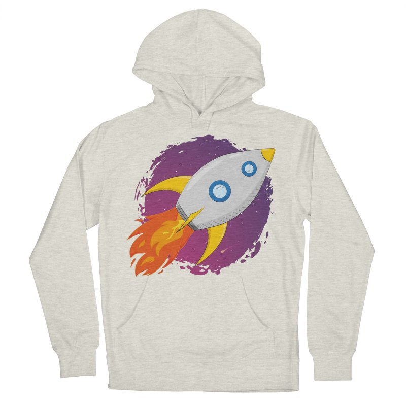 Space Rocket Men's French Terry Pullover Hoody by Synner Design