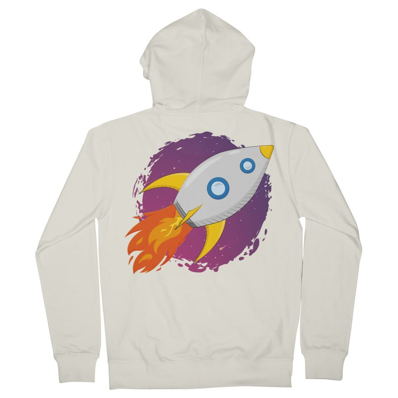 Space Rocket Women's French Terry Zip-Up Hoody by Synner Design
