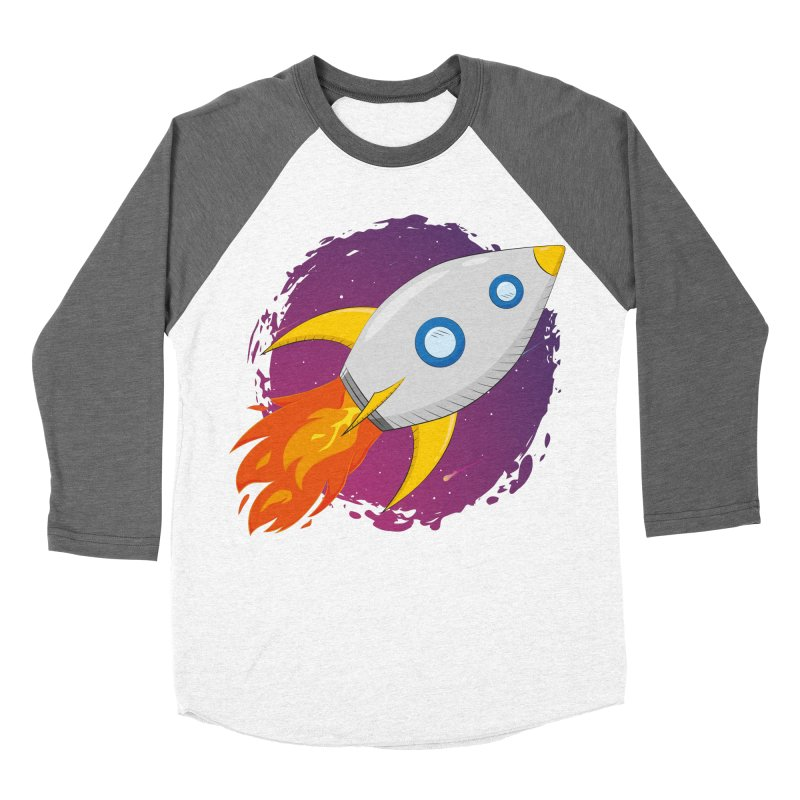 Space Rocket Men's Baseball Triblend Longsleeve T-Shirt by Synner Design