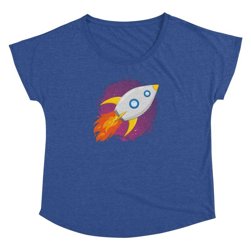 Space Rocket Women's Dolman Scoop Neck by Synner Design