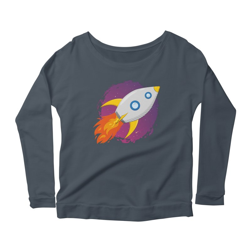 Space Rocket Women's Scoop Neck Longsleeve T-Shirt by Synner Design