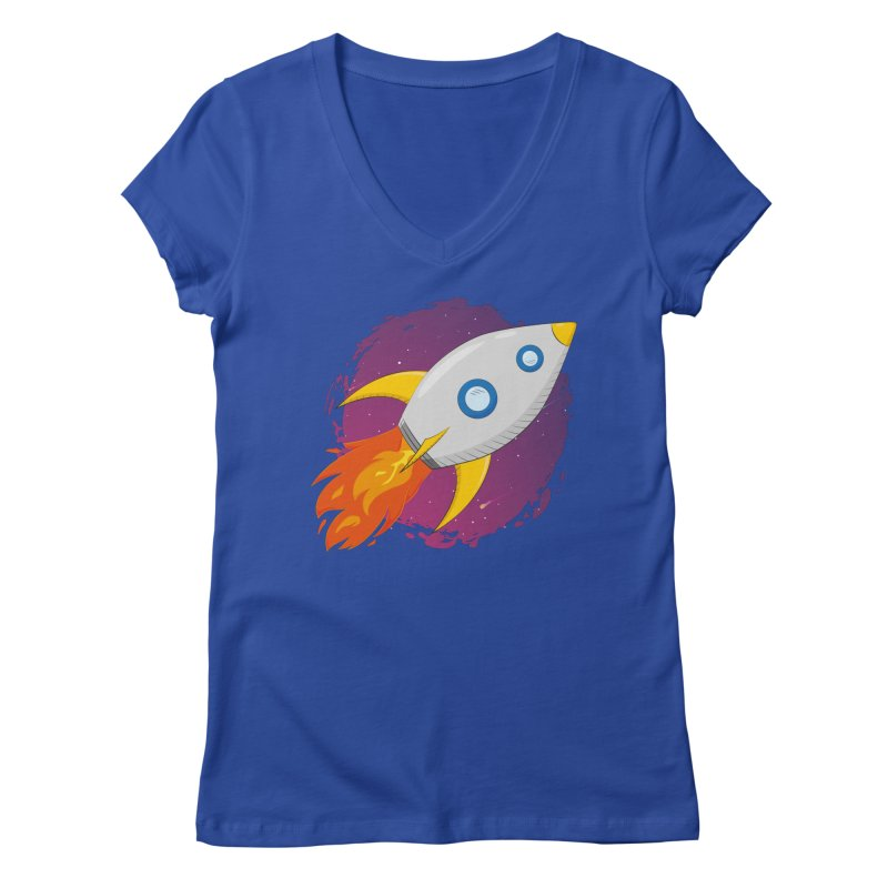 Space Rocket Women's V-Neck by Synner Design