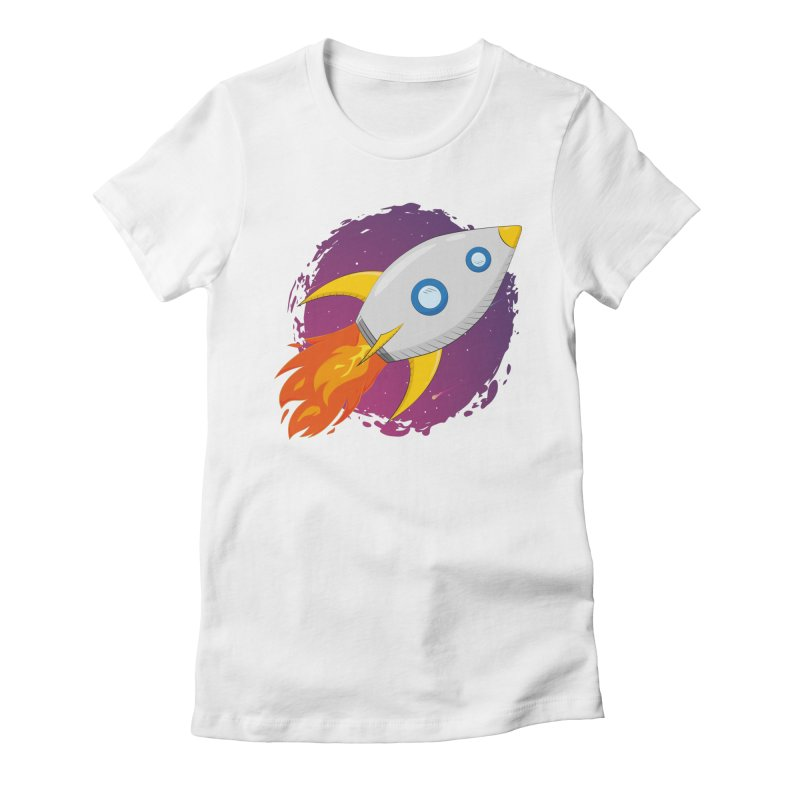 Space Rocket Women's Fitted T-Shirt by Synner Design