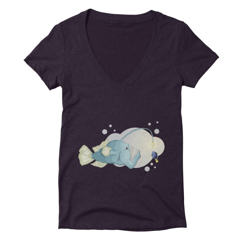 Anglerfish from the abyss Women's Deep V-Neck V-Neck by Synner Design
