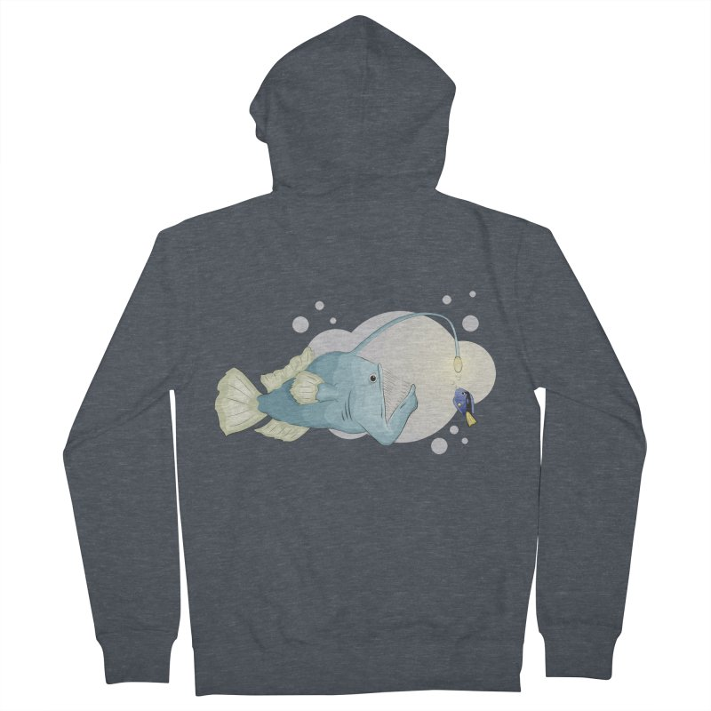 Anglerfish from the abyss Women's French Terry Zip-Up Hoody by Synner Design