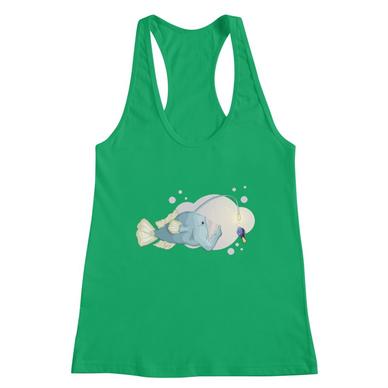 Anglerfish from the abyss Women's Racerback Tank by Synner Design