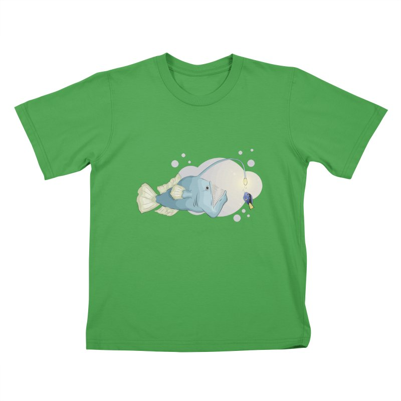 Anglerfish from the abyss Kids T-Shirt by Synner Design