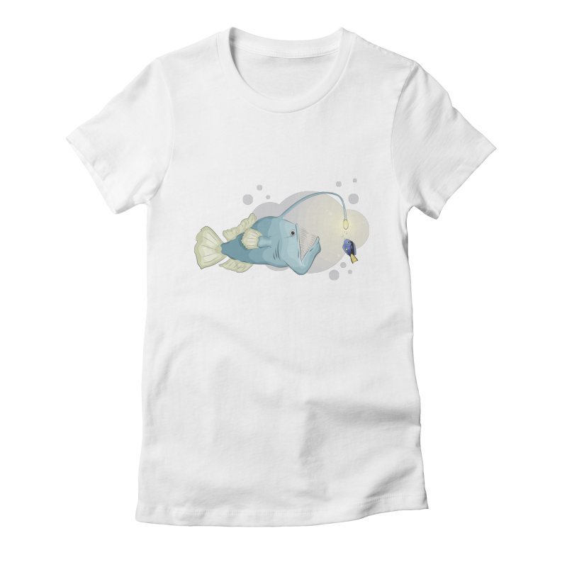 Anglerfish from the abyss Women's Fitted T-Shirt by Synner Design