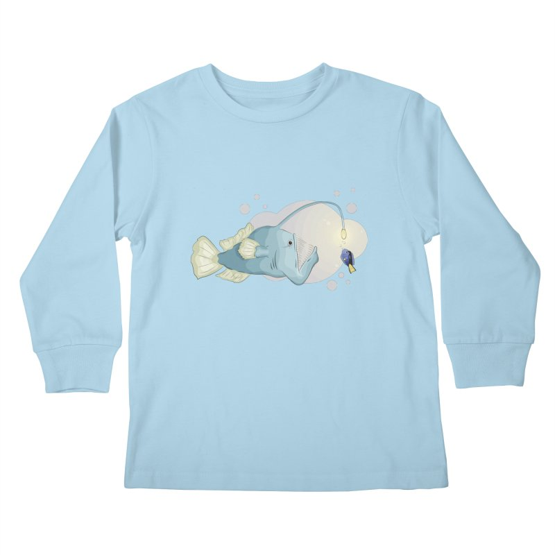 Anglerfish from the abyss Kids Longsleeve T-Shirt by Synner Design