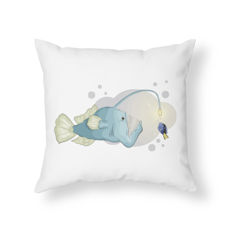 Anglerfish from the abyss Home Throw Pillow by Synner Design
