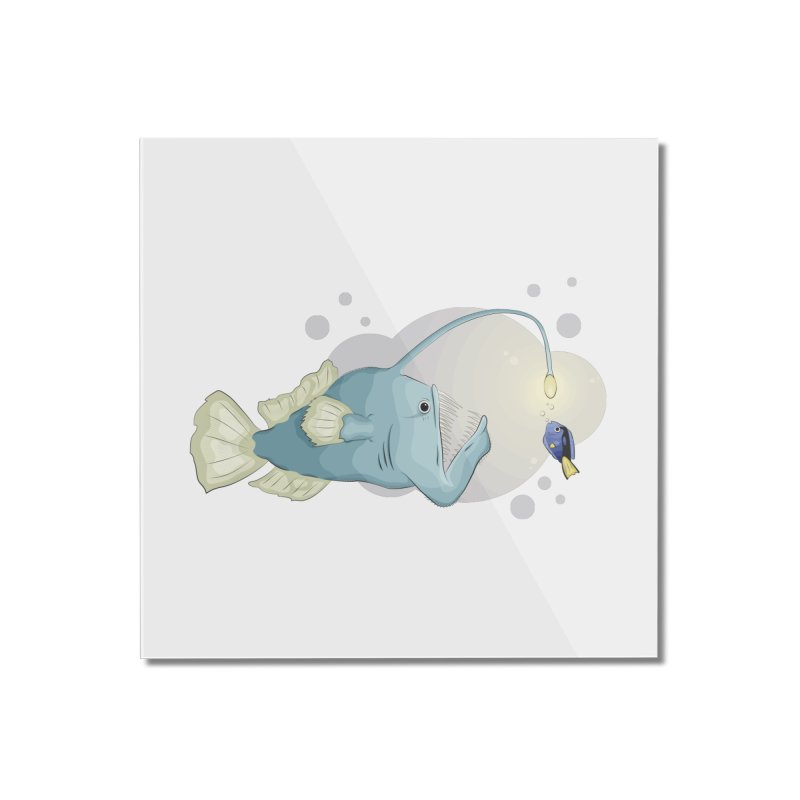 Anglerfish from the abyss Home Mounted Acrylic Print by Synner Design