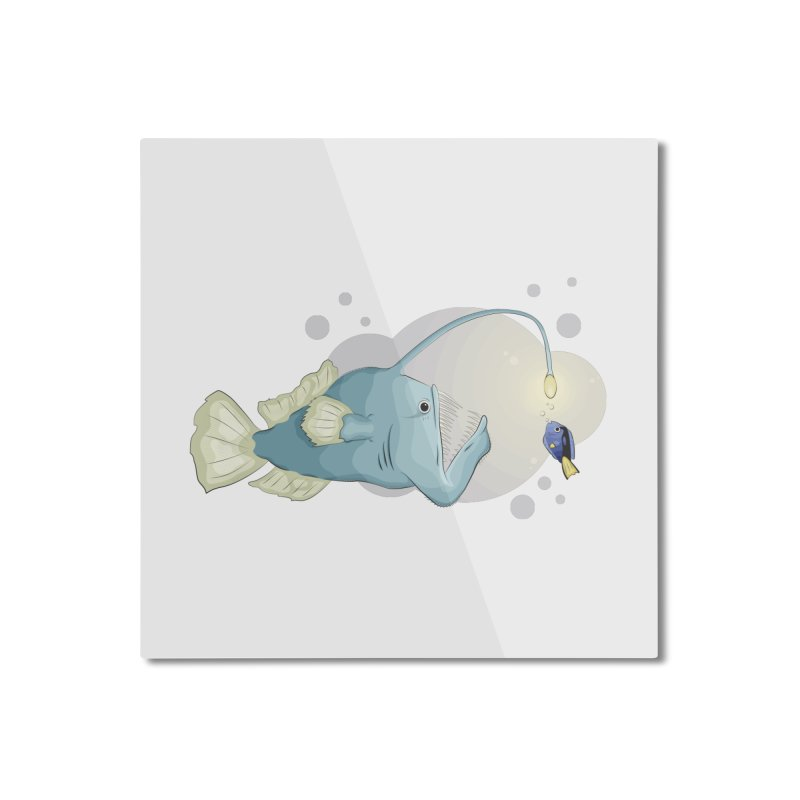 Anglerfish from the abyss Home Mounted Aluminum Print by Synner Design