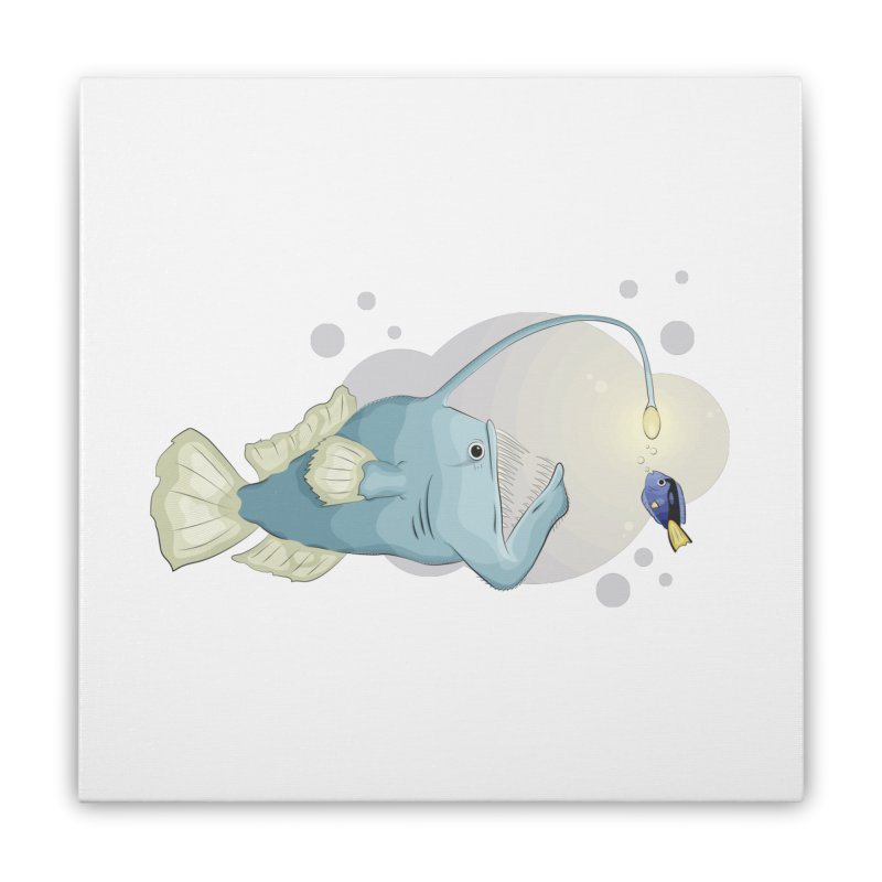 Anglerfish from the abyss Home Stretched Canvas by Synner Design