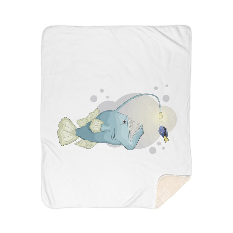 Anglerfish from the abyss Home Sherpa Blanket Blanket by Synner Design